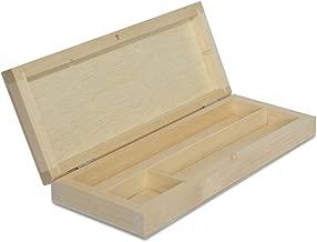 Creative Deco Estuche de Madera | 3 Compartimentos | 22 x 8,5 x 3 cm | Caja con Tapa para Decorar y Decoupage Bolígrafos Lápices Cauchos Notas | Organizador Arte y Artesanía