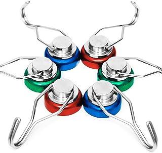 siMul 55lb Colorful Swivel Magnetic Hook - Heavy Duty Neodymium Magnets for Refrigerator Door Key BBQ Grill Locker Coat Po...