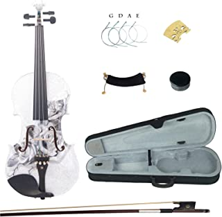 Kinglos 4/4 Butterfly Flower Colored Ebony Fitted Solid Wood Violin Kit with Case, Shoulder Rest, Bow, Rosin, Extra Bridge and Strings Full Size (NHS3003)