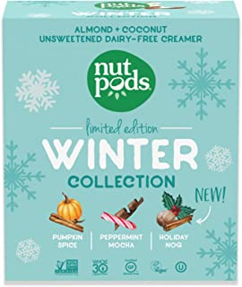nutpods Winter Collection 2020, (3-Pack), Pumpkin Spice, Peppermint Mocha and Holiday Nog, Unsweetened Dairy-Free Creamer,...