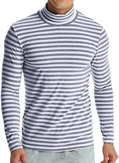 GREFER Men's Autumn Winter T-Shirt Striped Turtleneck Long Sleeve Hight Neck Tops
