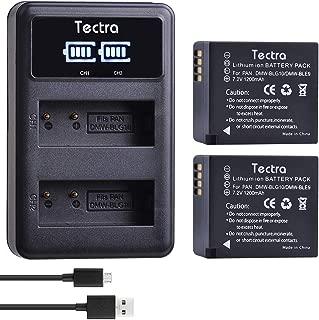 Tectra 2-Pack DMW-BLG10 DMW-BLE9 Battery and LED Dual USB Charger for Panasonic Lumix DC-ZS80, DC-GX9, DC-LX100 II, DC-ZS200, DC-ZS70, DMC-GX80, DMC-GX85, DMC-ZS60, DMC-ZS100, DMC-GF6, DMC-GX7K