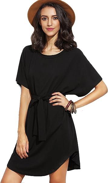 Shein Damen Kleid Basic Kurzarm Mit Gurtel T Shirt Kleider Schwarz M Amazon De Bekleidung
