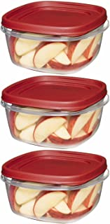 Rubbermaid 7J66 608866900504 Easy Find Lid Square 5-Cup Food Storage Container (Pack of 3), Red