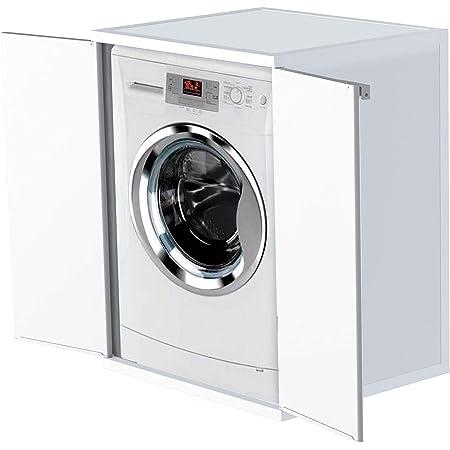 Adventa Meuble pour Machine à Laver en résine PVC (Usage intérieur/extérieur), Blanc, L 68,5 x P 64,5 x h 88 cm