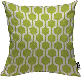 Mugod Hexagon Pattern Throw Pillow Geometric Trellis Polygon Lime Green and White Cotton Linen Square Cushion Cover Standard Pillowcase 18x18 Inch for Home Decorative Bedroom/Living Room/Car