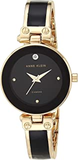 Anne Klein Women's Ak/1980Bkgb Diamond-Accented Dial Black and Gold-Tone Bangle Watch, Analog Display, Quartz Movement