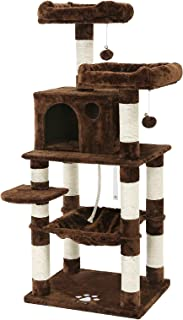 FEANDREA 58 inches Multi-Level Cat Tree with Sisal-Covered Scratching Posts, Plush Perches, Hammock and Condo, Cat Tower Furniture - for Kittens, Cats and Pets