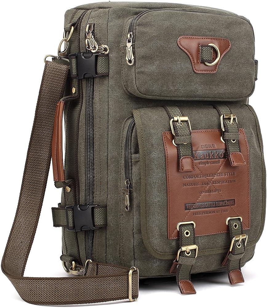 KAUKKO Cheap sale Outdoor Topics on TV Travel Men Backpack Canvas Hiking Rucksa Camping