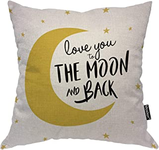 Moslion Love You The Moon and Back Throw Pillow Cover Funny Quote with Stars Hand Drawn Lettering 18x18 Inch Square Pillow Case Cushion Cover for Home Car Decorative Cotton Linen