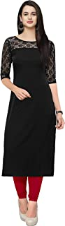 SR Round Neck Crepe Kurtis for Womens and Girls with 3/4 Sleeve (Black)