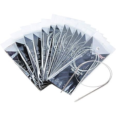 Migavenn 11pcs 80cm Acier Aiguilles à Tricoter Circulaires épingles à Aiguilles Set Crochet Weaving Accessoires 1.7-5mm Différentes Tailles