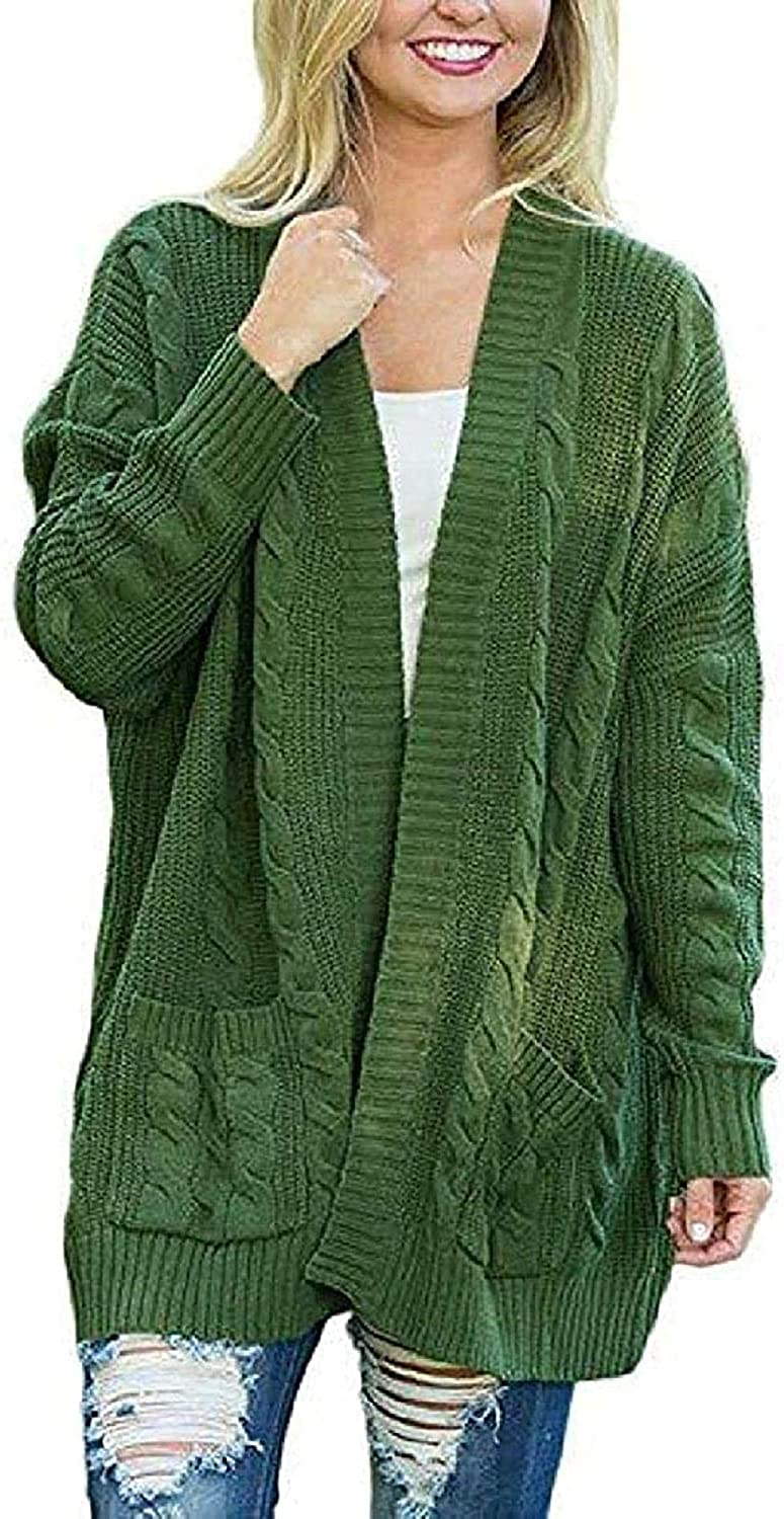 CHENGYYDP Cardigan Women Oversized Open Front Sweater Cardigans Outerwear with Pockets (Color : Green, Size : S)