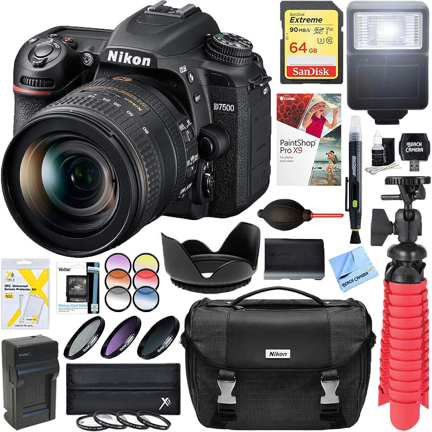 Nikon D7500 20.9MP DX-Format DSLR Camera with AF-S 16-80mm f/2.8-4E ED VR Lens + 64GB Deluxe Accessory Bundle