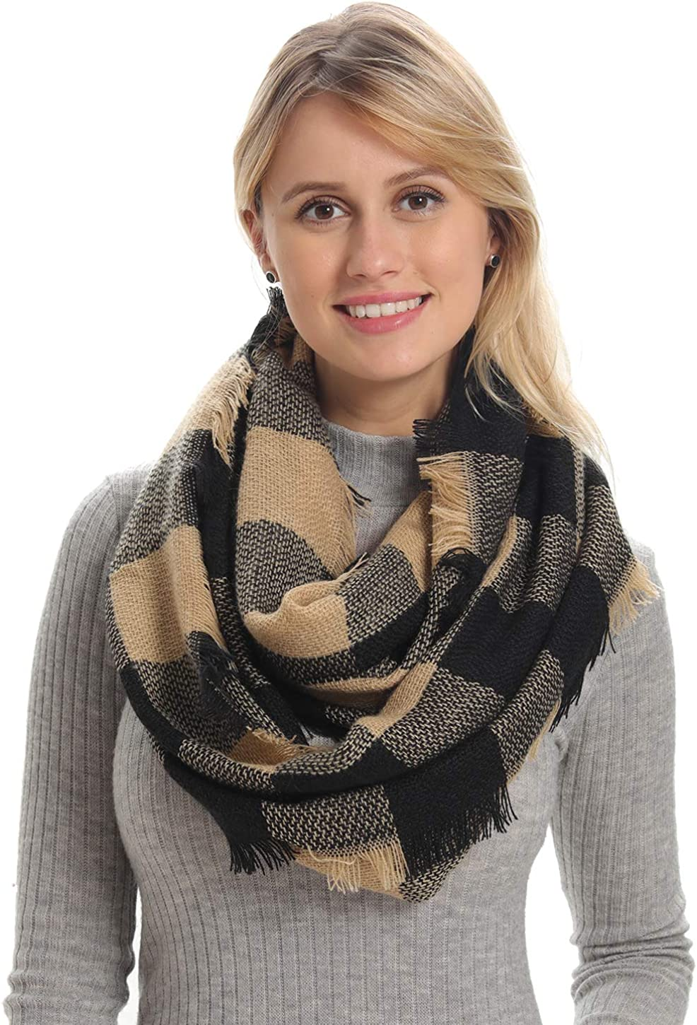 Women Plaid Infinity Scarf for Winter, Cashmere Feel, Cozy Warm for Winter