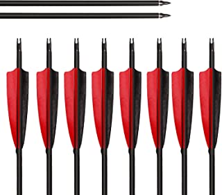 ARCHERY SHARLY Feather Arrows 31 inch Feather Fletched Arrows Carbon Fiber Archery Hunting Arrows for Recurve Bow and Traditional Long Bows
