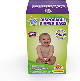 Mighty Clean Baby Disposable Diaper Bags with Light Powder Scent, 300 Count