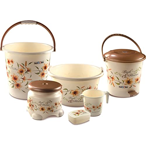 Nayasa Deluxe Small Bathroom Plastic Bucket and Mug Set, 6-Pieces, Brown