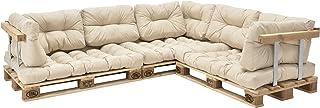 [en.casa] Cojines para sofá de palés 'europalés' - Set - 3 Cojines de Asiento + 8 Cojines de Respaldo Beige - Muebles DIY - Ideal para salón - Sala de Estar