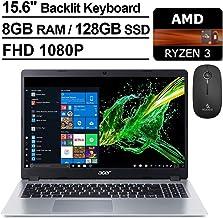 2020 Acer Aspire 5 15.6 Inch FHD 1080P Slim Laptop| AMD Ryzen 3 3200U up to 3.5 GHz| 8GB RAM| 128GB SSD| Backlit KB| WiFi| Bluetooth| HDMI| Windows 10 + NexiGo Wireless Mouse Bundle