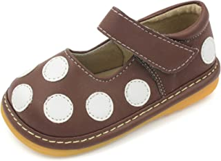 Squeaky Shoes | Black, Brown, or Pink Polka-Dot Mary Jane Toddler Girl Shoes