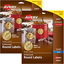 Avery Embossed 2 Inch Round Labels for Inkjet Printers Only, 96 Matte Gold Labels (22831) (2 Pack, 192 Labels Total)