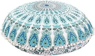 Plush Decor Mandala Floor Cushion Cover Ottoman Meditation Pillow Kids Seating Throw Decorative Zipped Bohemian Pouf (Blue White, 32