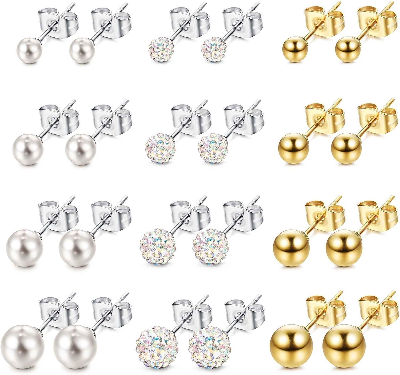 ORAZIO Stud Earrings for Women Stainless Steel Round Pearl Crystal Ball Earrings Set