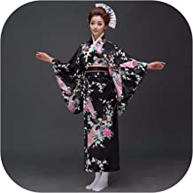 National Women Sexy Kimono with Novelty Dress Japanese Cosplay Costume Floral One Size