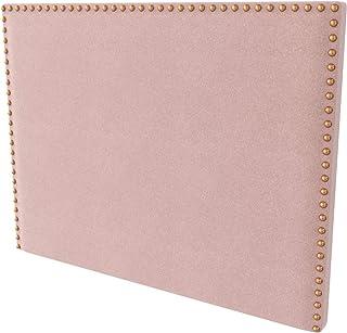 LA WEB DEL COLCHON - Cabecero tapizado Tachuelas para Cama de 150 (160 x 120 cms) Rosa Palo Textil Suave | Cama Juvenil | Cama Matrimonio | Cabezal Cama |