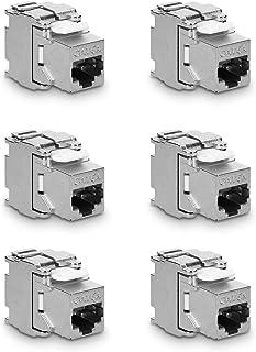 kwmobile 6X Module Keystone Catégorie 6A - 6 Modules de Brassage pour Branchement Câble RJ45 Raccord Blindé - Connexion à ...
