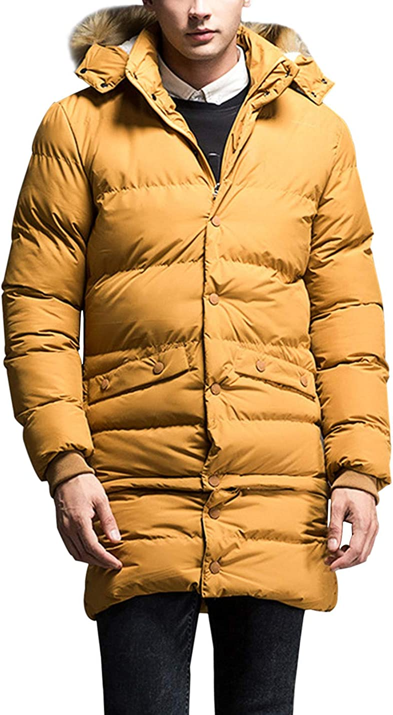 Gihuo Men's Winter Thickened Padded Coat Warm Parka with Removable Faux Fur Trim Hood