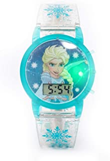 Disney Frozen Girls Digital Dial with Flashing Light on transparent strap & glitter Wristwatch - SA7215 Frozen E