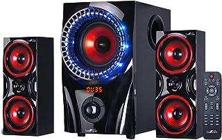 beFree Sound BFS-99X 2.1 Channel Surround Sound Bluetooth Speaker System, Red