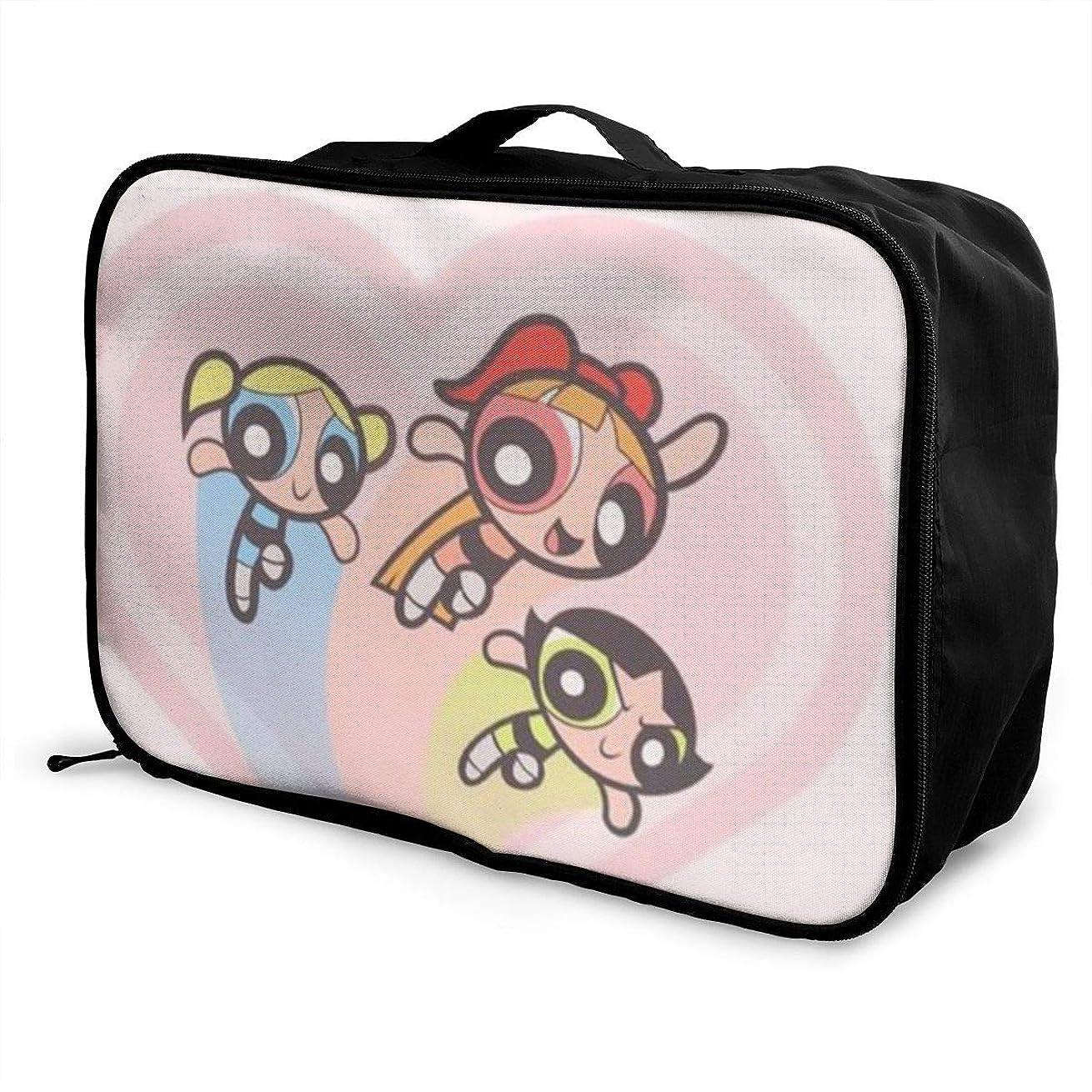 持つしてはいけません個人的なボストンバッグ パワパフガールズ キャリーオンバッグ トラベルバッグ 大容量 厚手 丈夫 荷物 折りたたみ スーツケース固定可 旅行 出張 男女兼用 かわいい おしゃれ