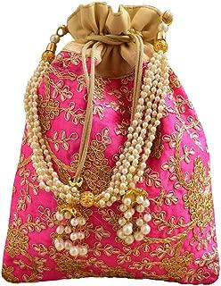 GiftPiper Embroidered Raw Silk Potli/Batua- Pink