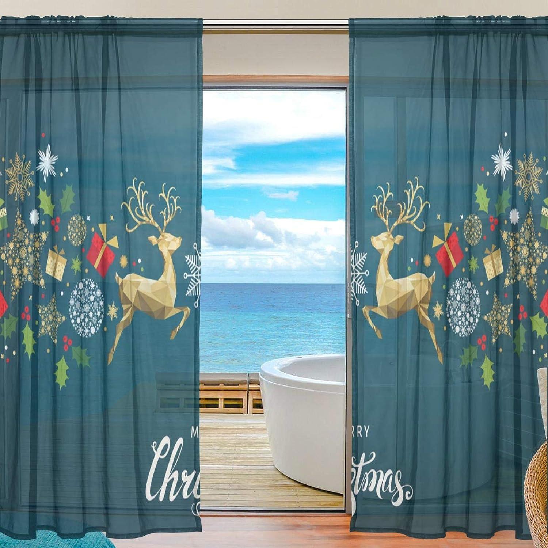 Vantaso Sheer Curtains 84 inch Long gold Xmas Deer and Snowflake for Kids Girls Bedroom Living Room Window Decorative 2 Panels