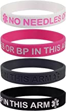 Max Petals Lymphedema Alert NO Needles OR BP This ARM Silicone Bracelet Wristbands
