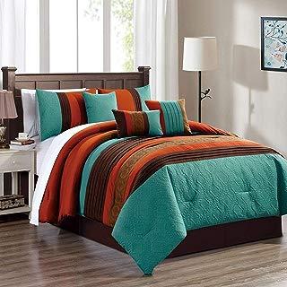 KingLinen 7 Piece Diego Teal/Coffee/Spice Comforter Set Queen