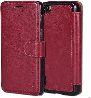 Mulbess Funda Honor 6 [Libro Caso Cubierta] [En Capas de Billetera Cuero de la PU] con Tapa Magnética Carcasa para Huawei Honor 6 Case, Vino Rojo