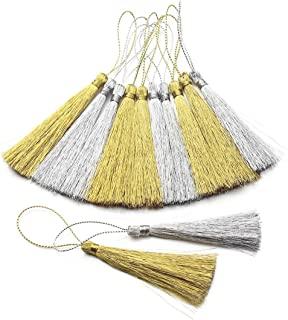 Ice Silk Tassels 10 Pcs 16cm//6.30in Wrinkle-Resistant Vertical Hanging Ears Bookmarks Clothing Hairpins Handcrafted Fur Jewelry DIY Project GOLD 10pcs-6.3in