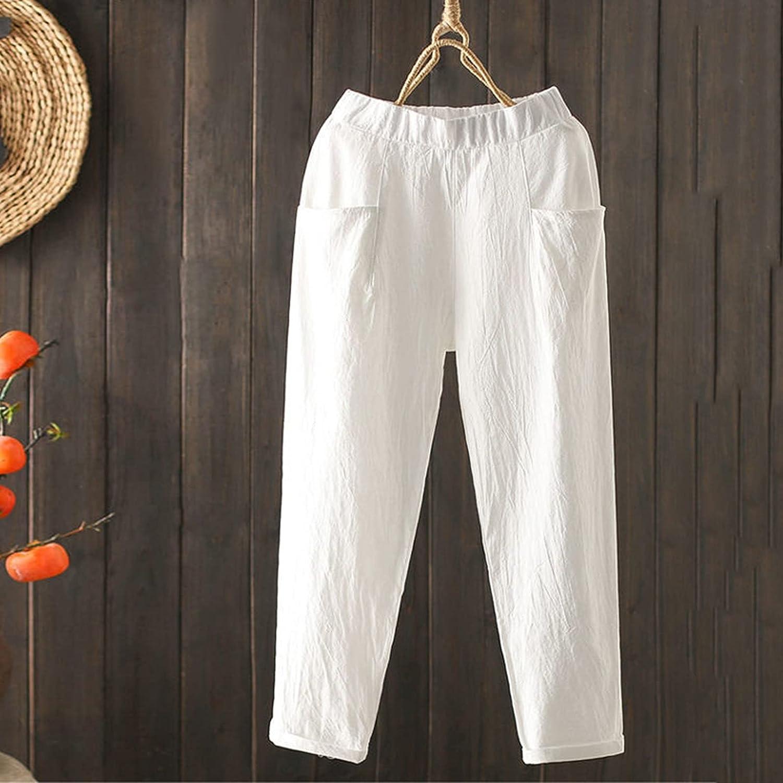 SDShop Women's Cotton Blend Pants Solid Color Cotton and Linen Casual Pants Long Straight Elastic Waist Loose Trousers Pant