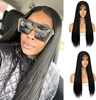 Sapphirewigs Black with Baby Hair 4×4 Lace Front Wigs Natural Long Yaki Heat Resistant Synthetic Wigs for Women With Natur...