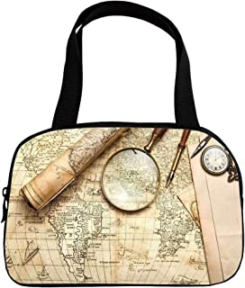 Polychromatic Optional Small Handbag Pink,Wanderlust Decor,Vintage World Map with Old Retro Objects and Magnifier Discovery Theme in Anthique Print,Cream,for Girls,Print Design.6.3