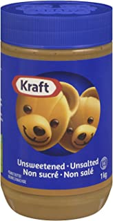 KRAFT Peanut Butter, Unsweetened/Unsalted Smooth, 1 Kg