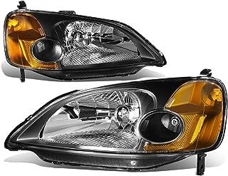 DNA Motoring HL-OH-HC01-BK-AM - Faros delanteros de repuesto para Honda Civic 01-03