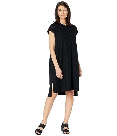 Eileen Fisher Textured Stretch Rib Crew Neck Dress