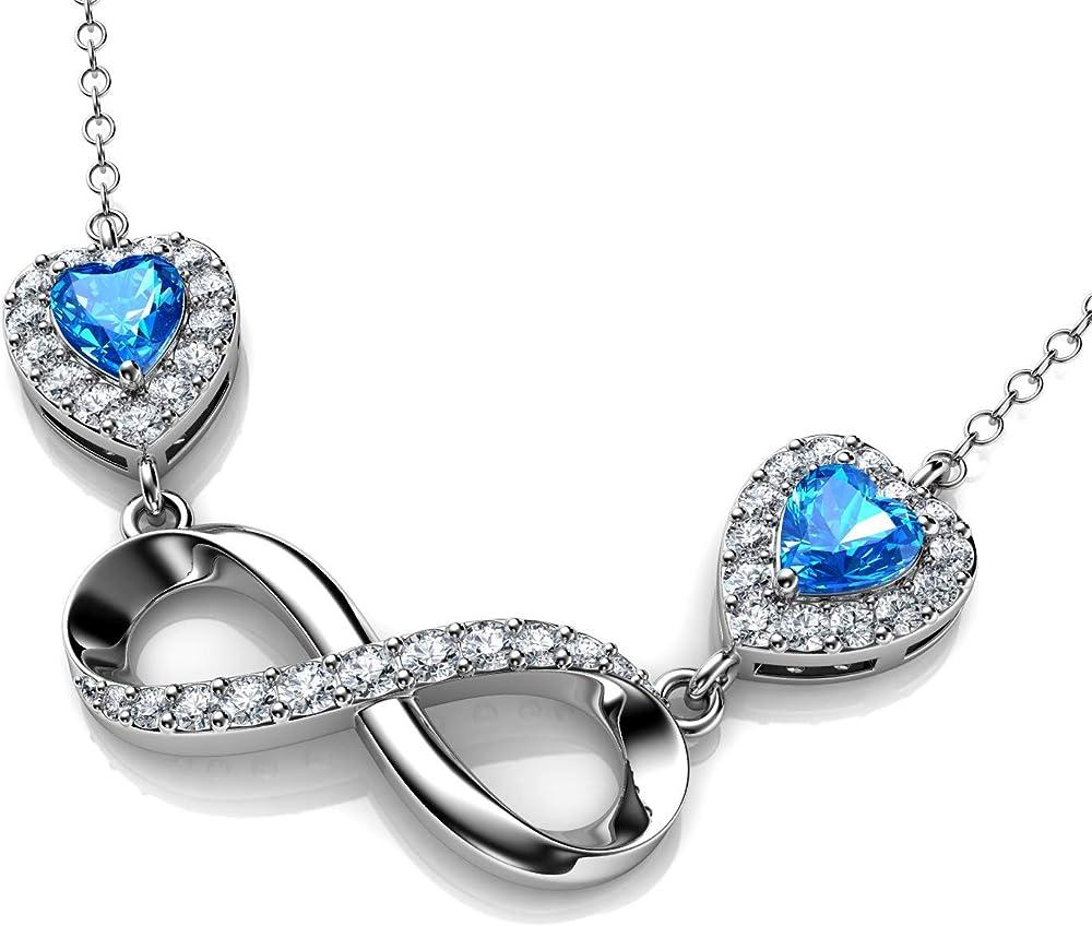 Dephini - collana infinito donna - argento sterling 925 - ciondolo in cristallo di zirconia