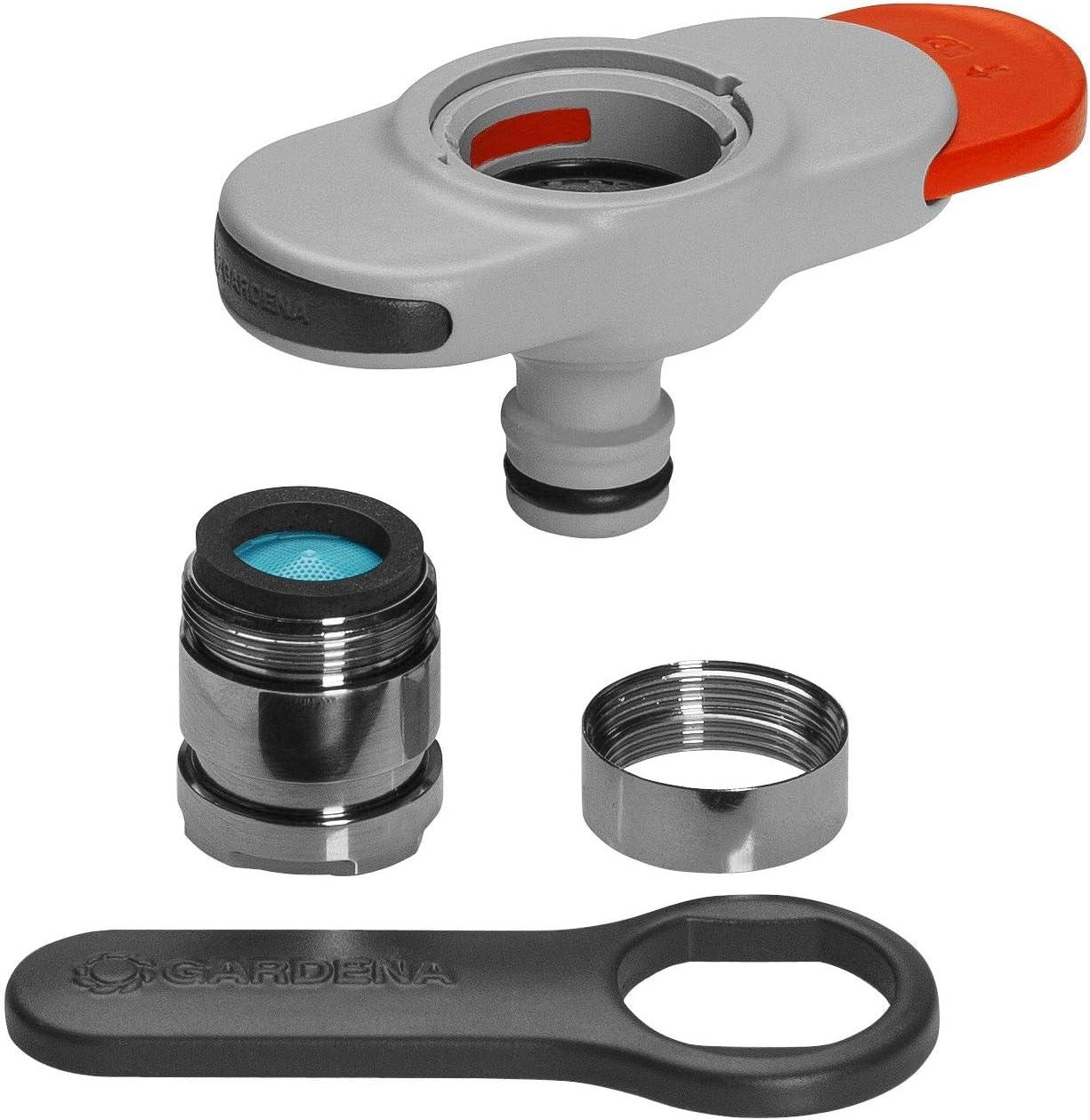 Conector GARDENA para grifos de interior: Conexión para grifos de interior, incl. adaptador para aireador, llave para una instalación sencilla, para cocina y baño (18210-20)