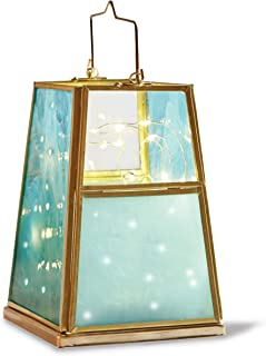 ORDER HOME COLLECTION Decorative Lantern with Battery-Operated LED String Lights, Turquoise Blue and Teal Brushed Glass, Gold Tone Frame, Trapezoid Lamp for Patios, Centerpiece, Home Accent, and More